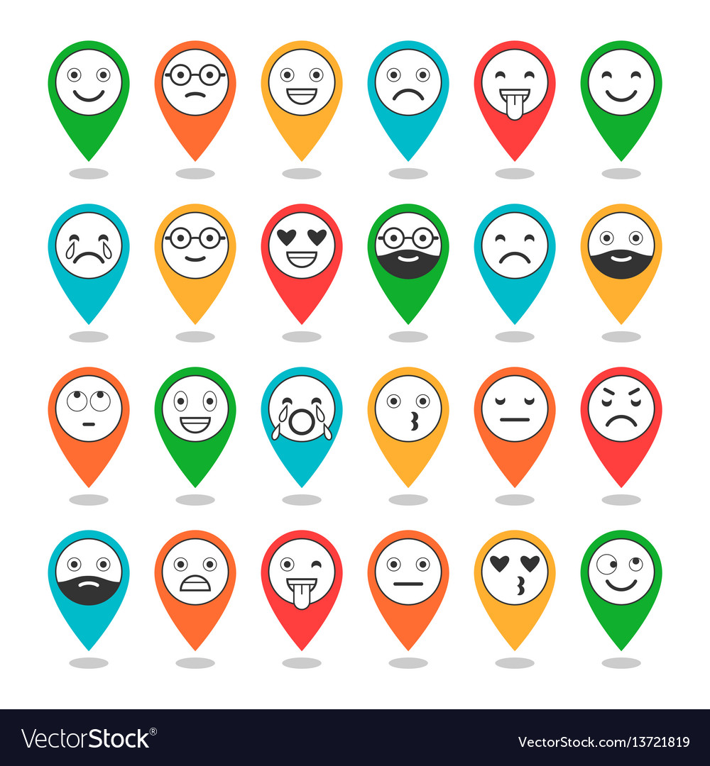 Colored flat icons of emoticons on pins smile vector image