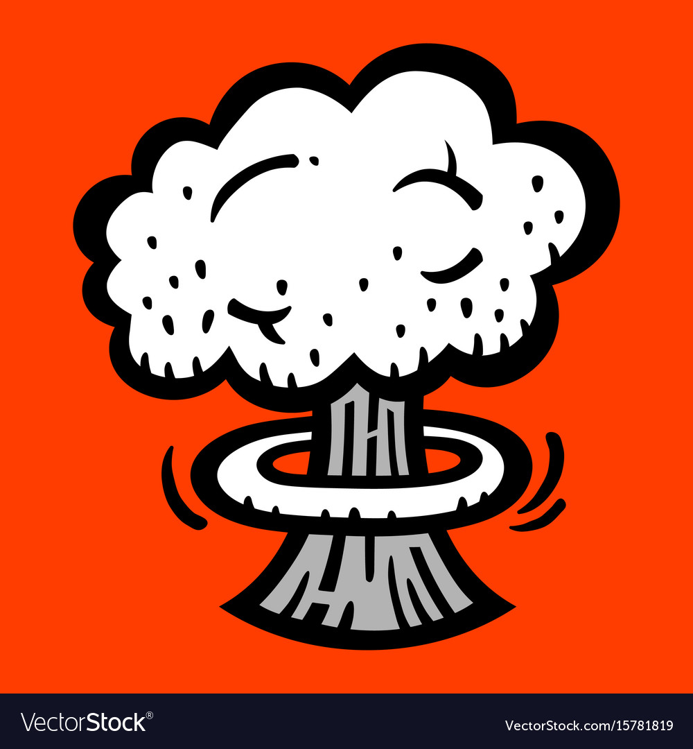 Mushroom cloud atomic nuclear bomb explosion vector image