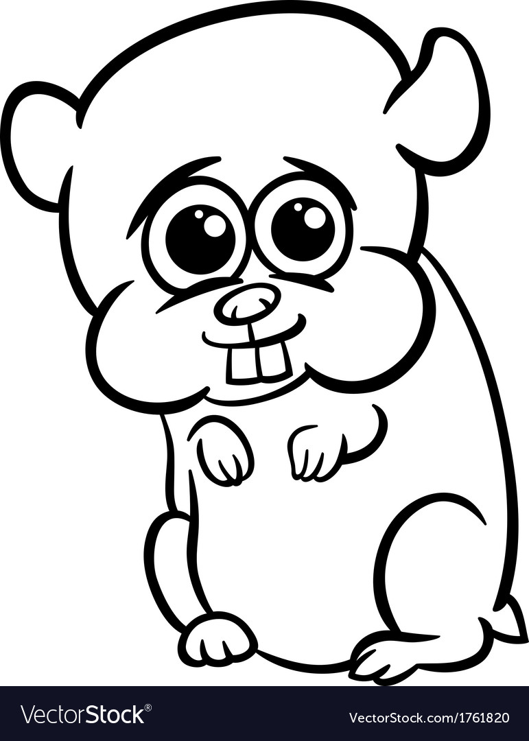 Baby Hamster Coloring Pages Baby hamster cartoon coloring page Royalty Free Vector Image