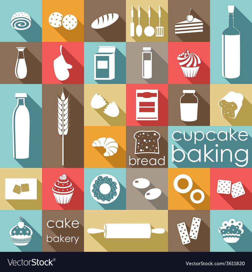 Baking flat set vector image