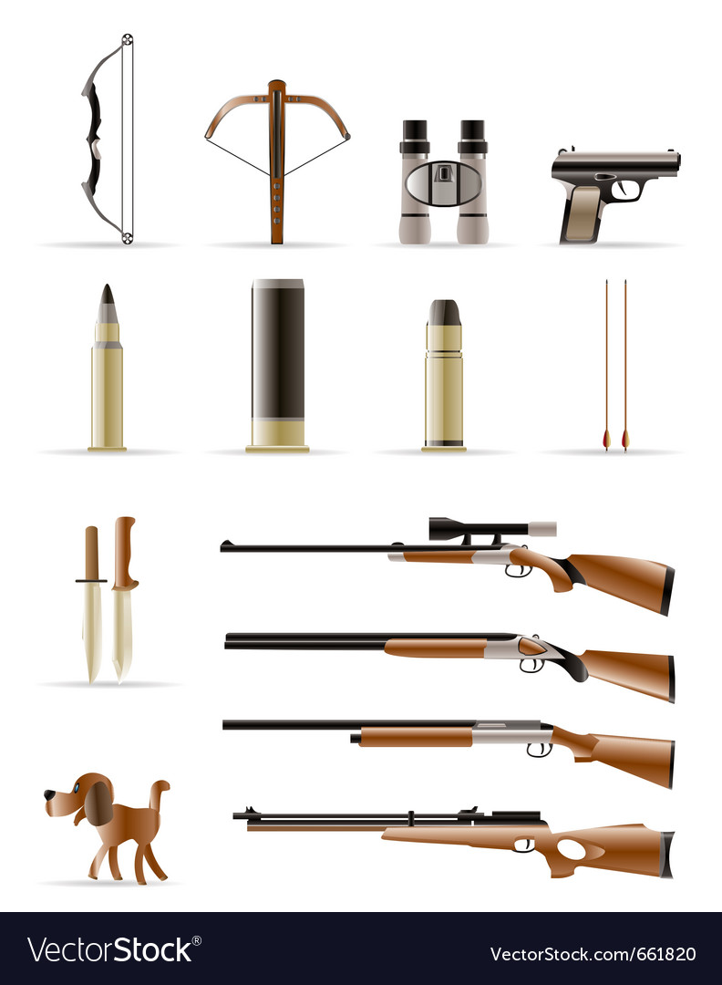 Hunting icons vector image