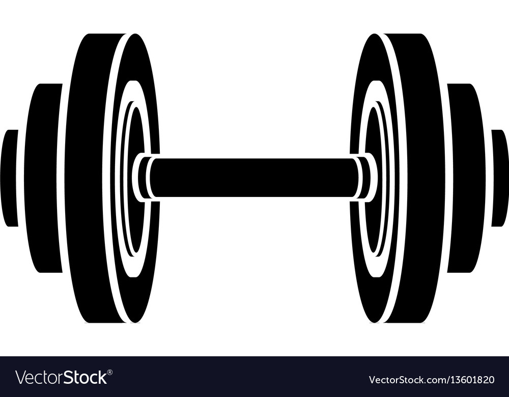 Monochrome silhouette with dumbbell for training vector image