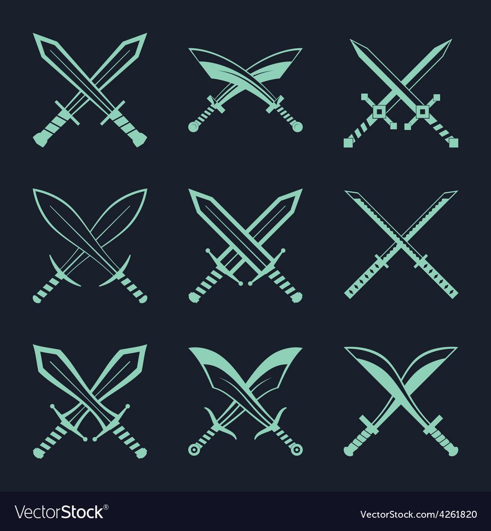 Set of heraldic swords and sabres for heraldry vector image