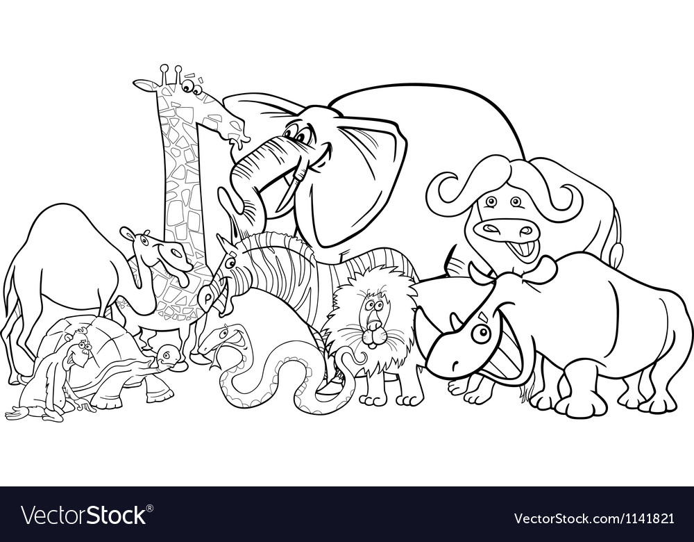 African safari animals cartoon for coloring Vector Image
