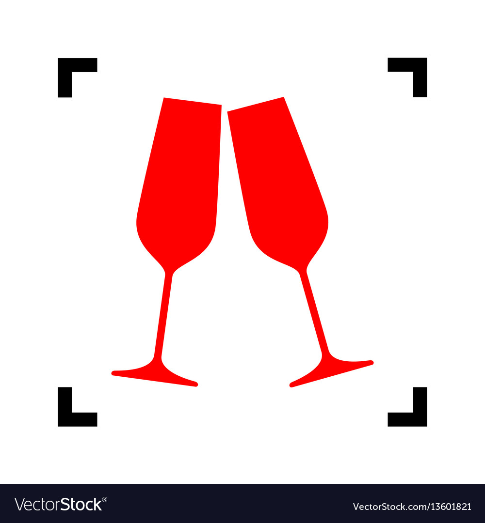 Sparkling champagne glasses red icon vector image