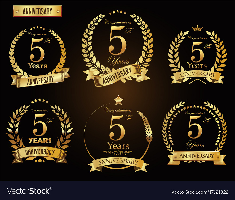 Anniversary golden laurel wreath 5 years vector image biocorpaavc Gallery