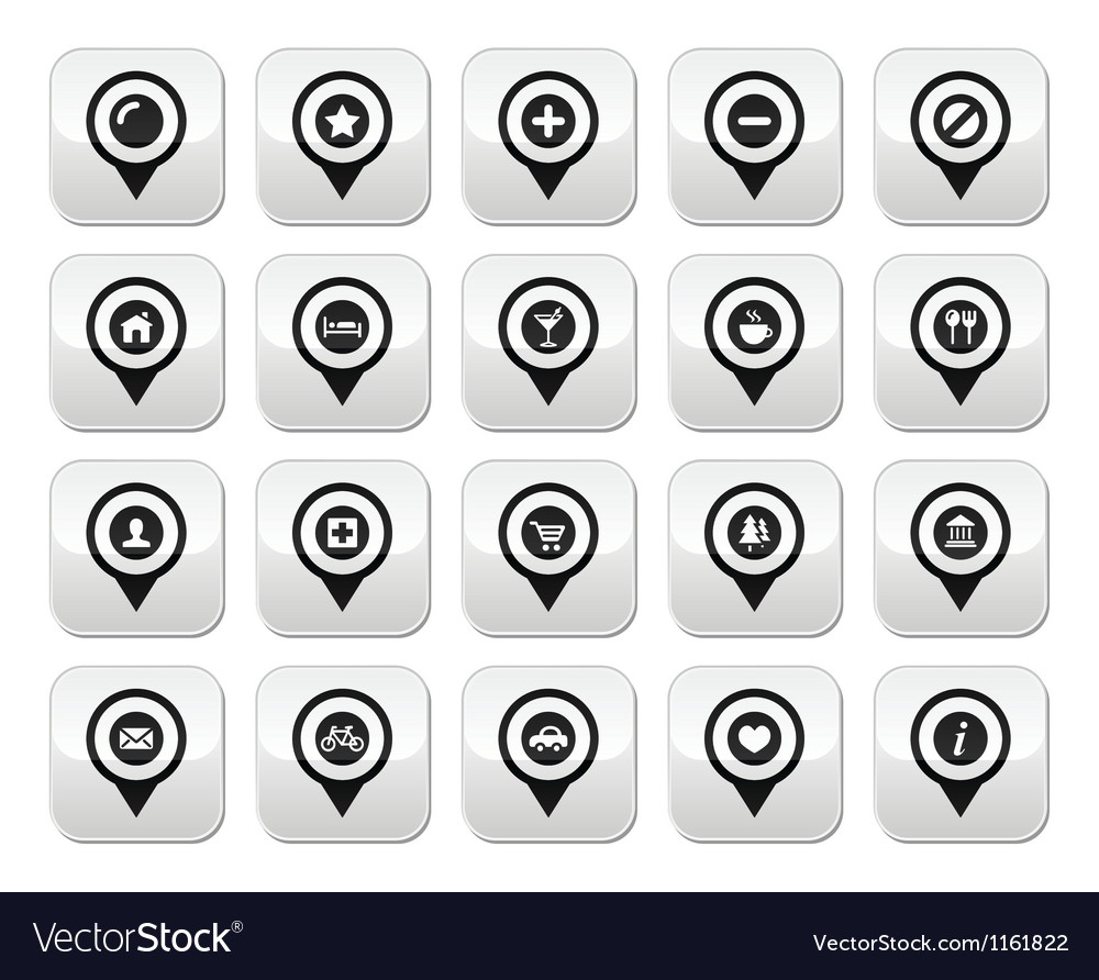 Map location markers pointers buttons set vector image
