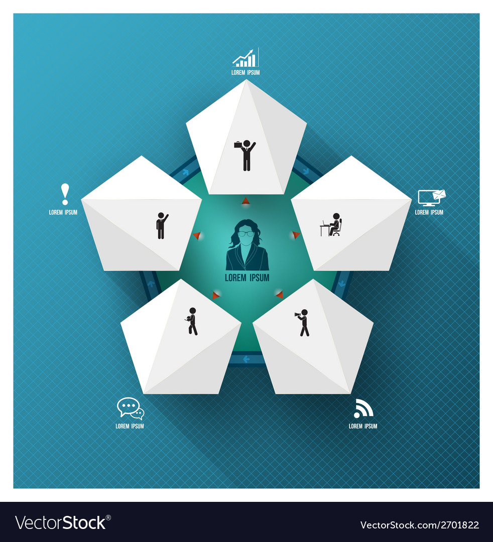 Pentagon group with action icons vector image