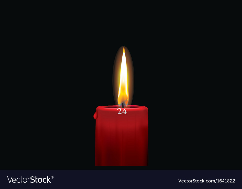 Red advent candle - december 24th vector image