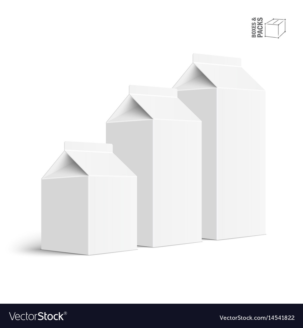 Set of juice and milk blank white carton boxes vector image