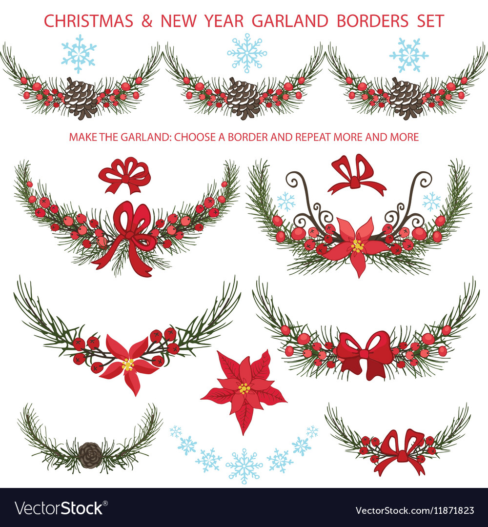 Christmas bordersgarlands decoationSpruce vector image
