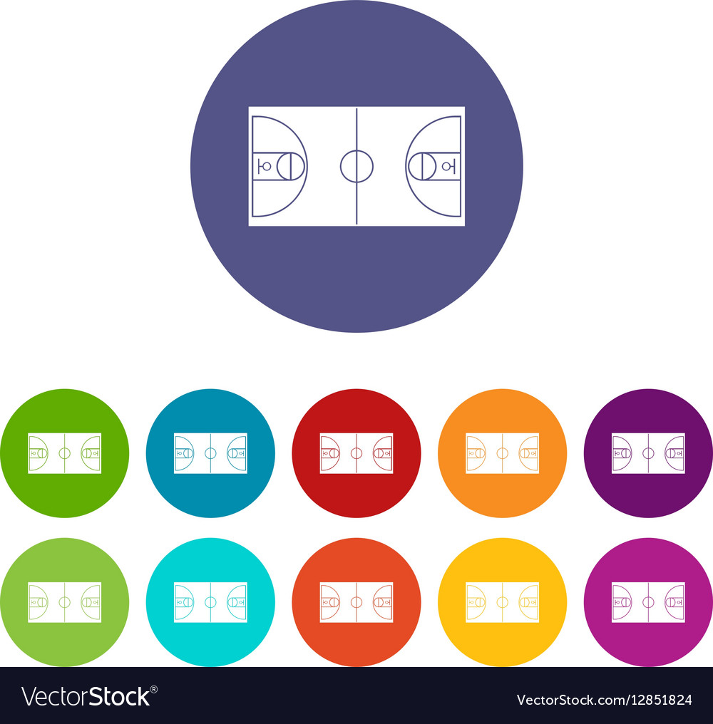 Basketball field set icons vector image