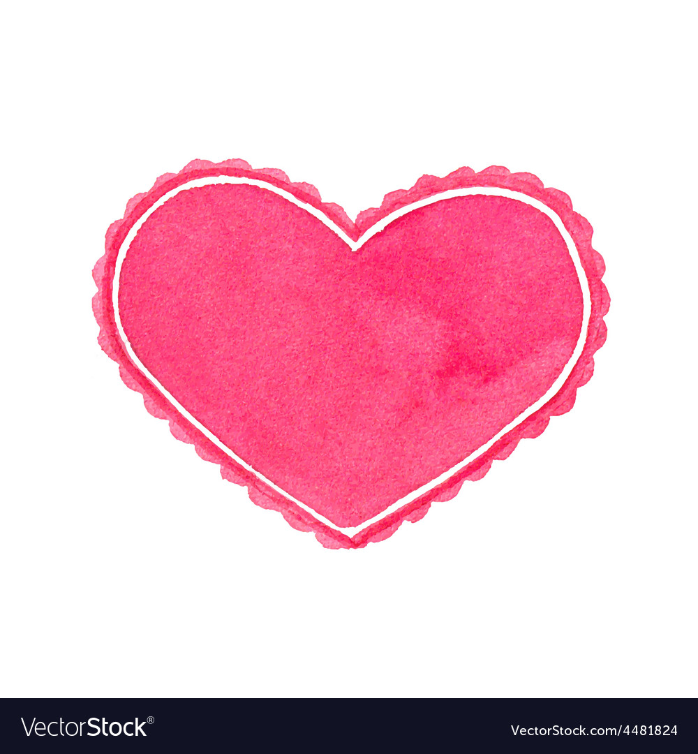 Watercolor heart frame on the white background vector image