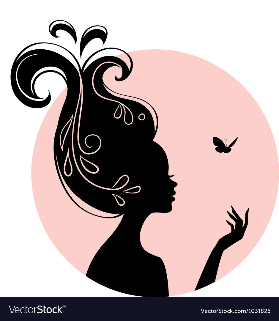 Silhouette head vector image