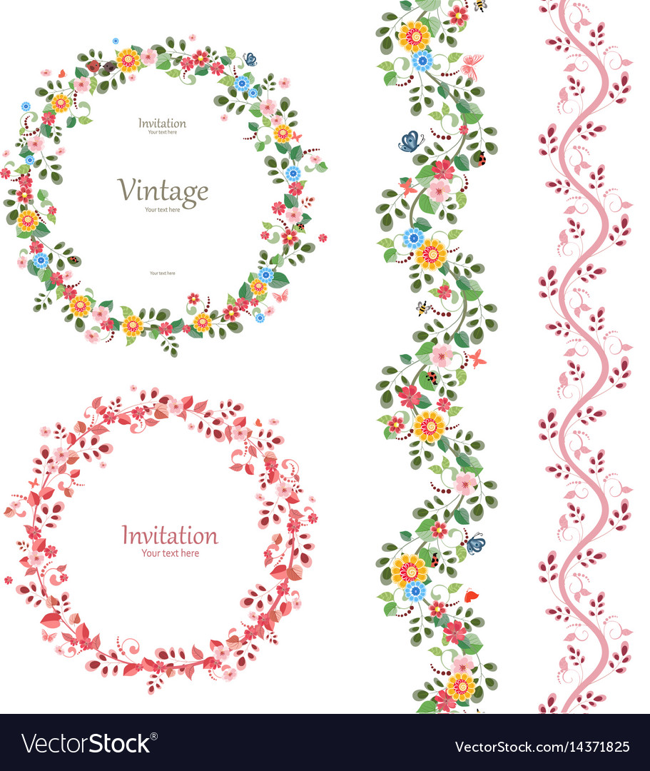 Romantic floral collection vertical seamless vector image