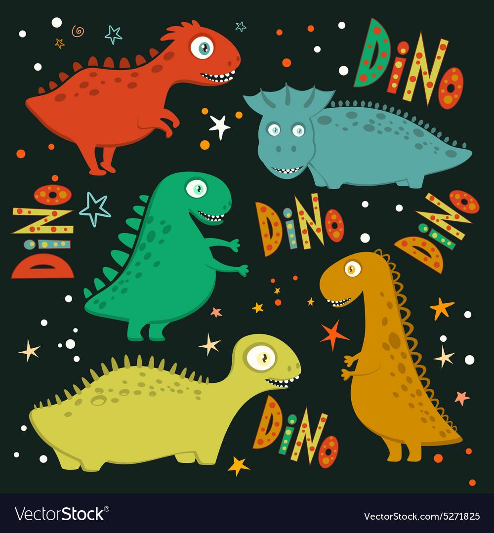 Set of funny cartoon dinosaurs vector image