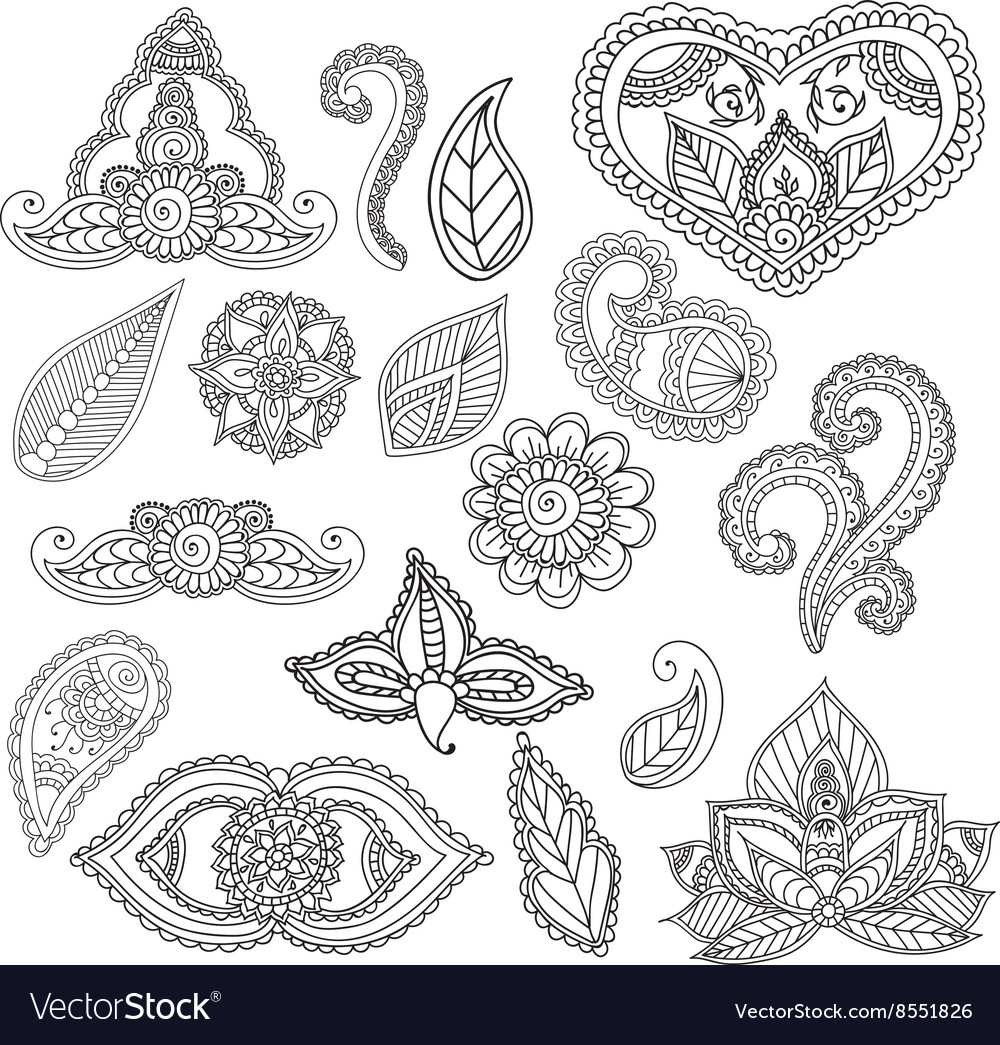 Coloring pages henna - Coloring Pages For Adults Henna Mehndi Doodles Vector Image