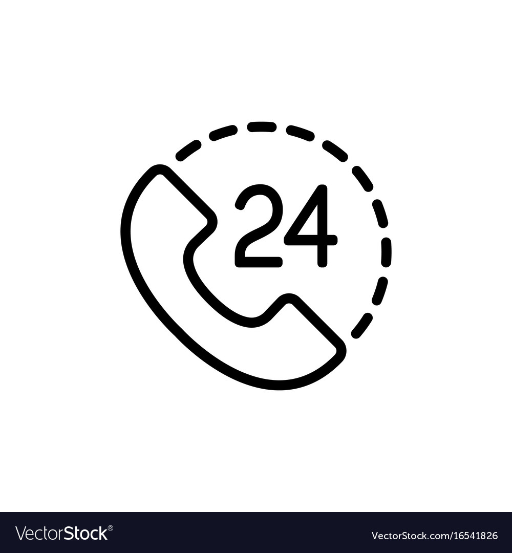 Around the clock call suppot icon on white vector image