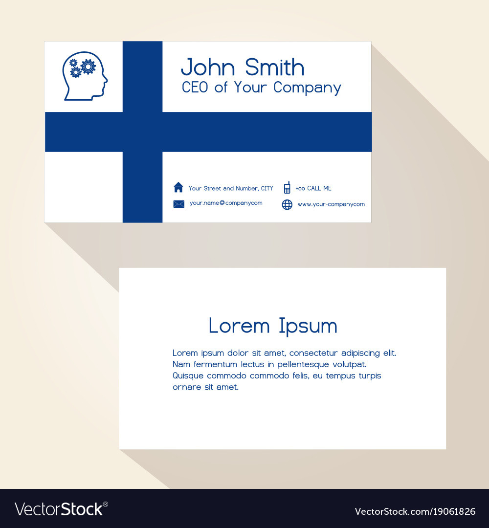 Finland flag color business card design eps10 vector image