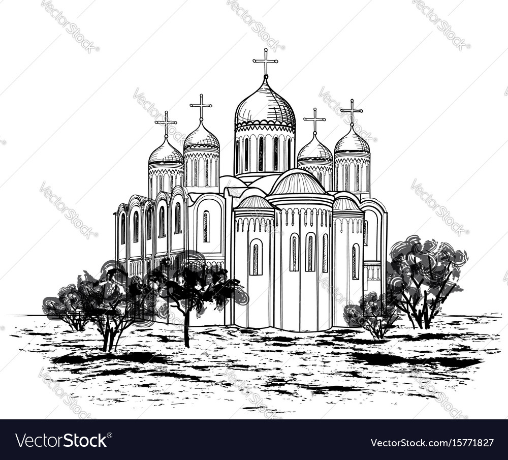 Famous place of vladimir city view russian city vector image