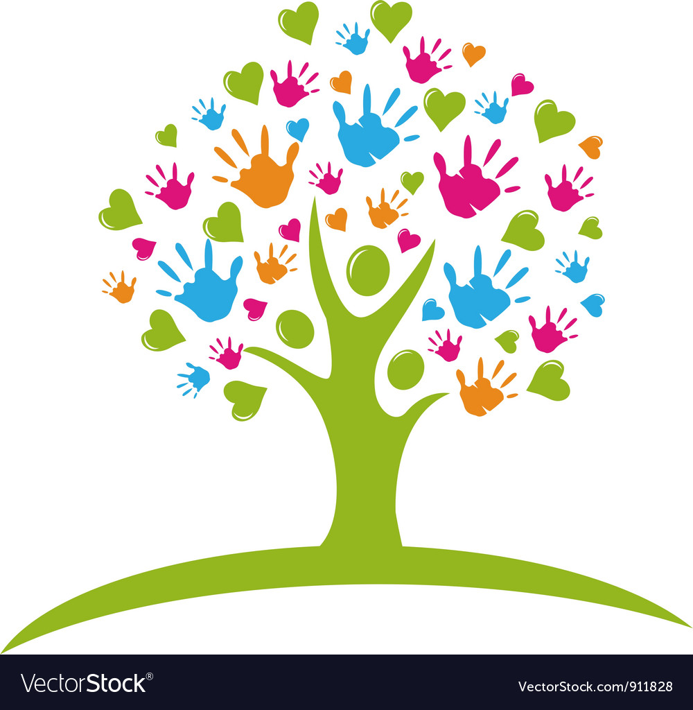 Tree with hands and hearts vector image