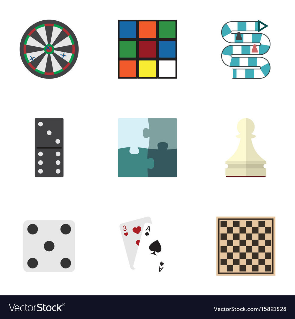 Flat icon play set of cube ace chess table and vector image