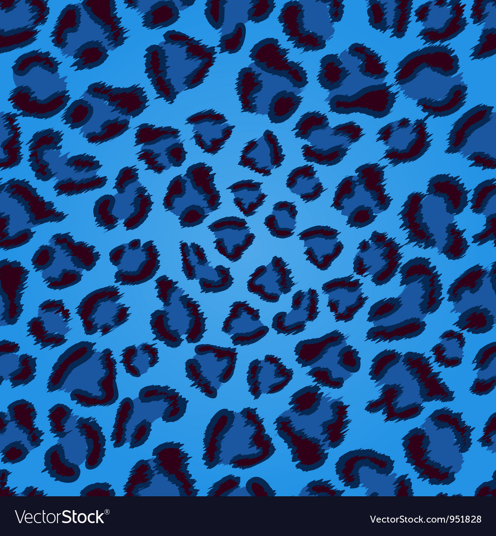 Seamless blue leopard texture pattern vector image