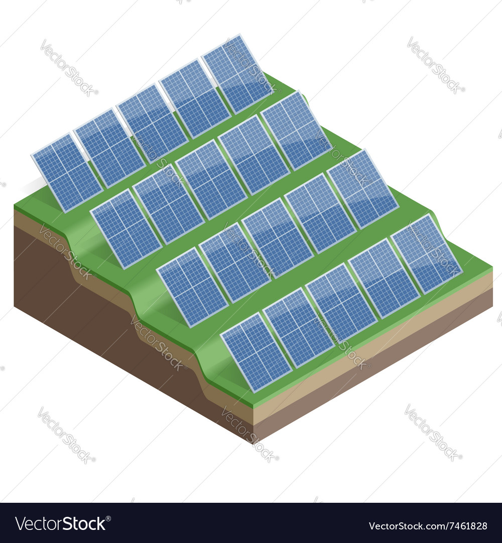 Solar Panels Isolated on White Background Flat 3d vector image