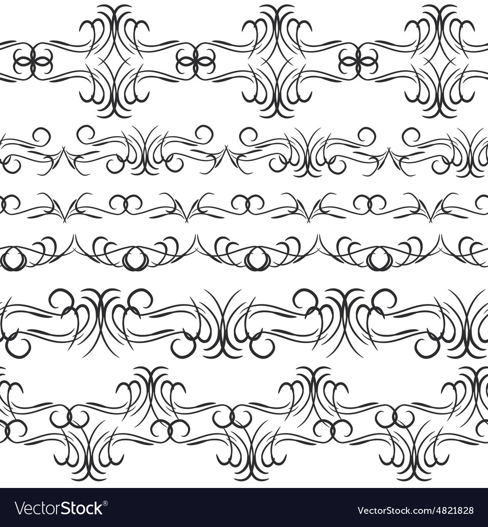Vintage border design elements black on white vector image