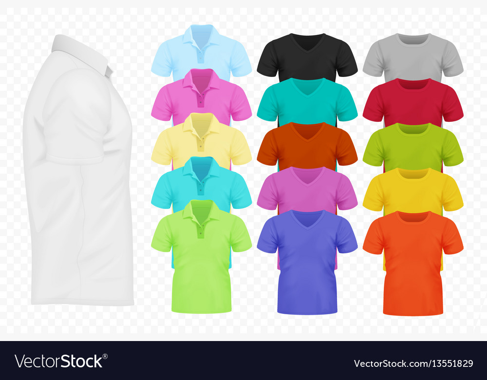 Realistic men t-shirt set full editable vector image