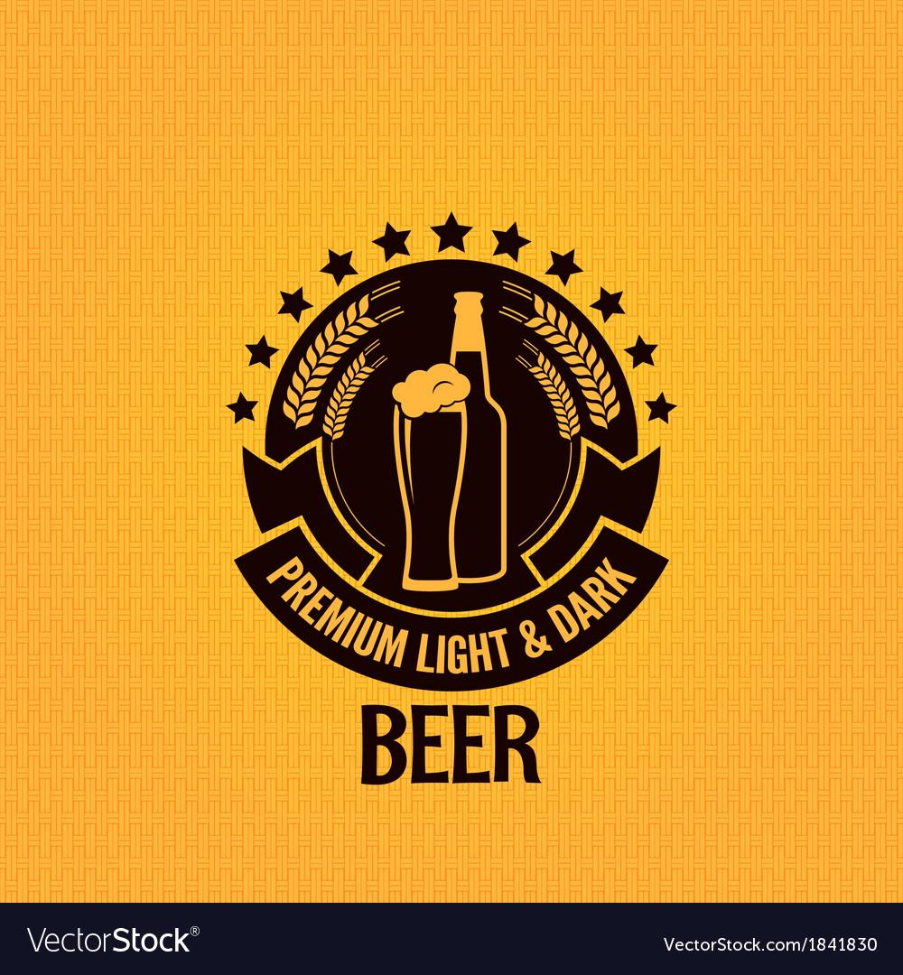 Beer bottle glass vintage background vector image