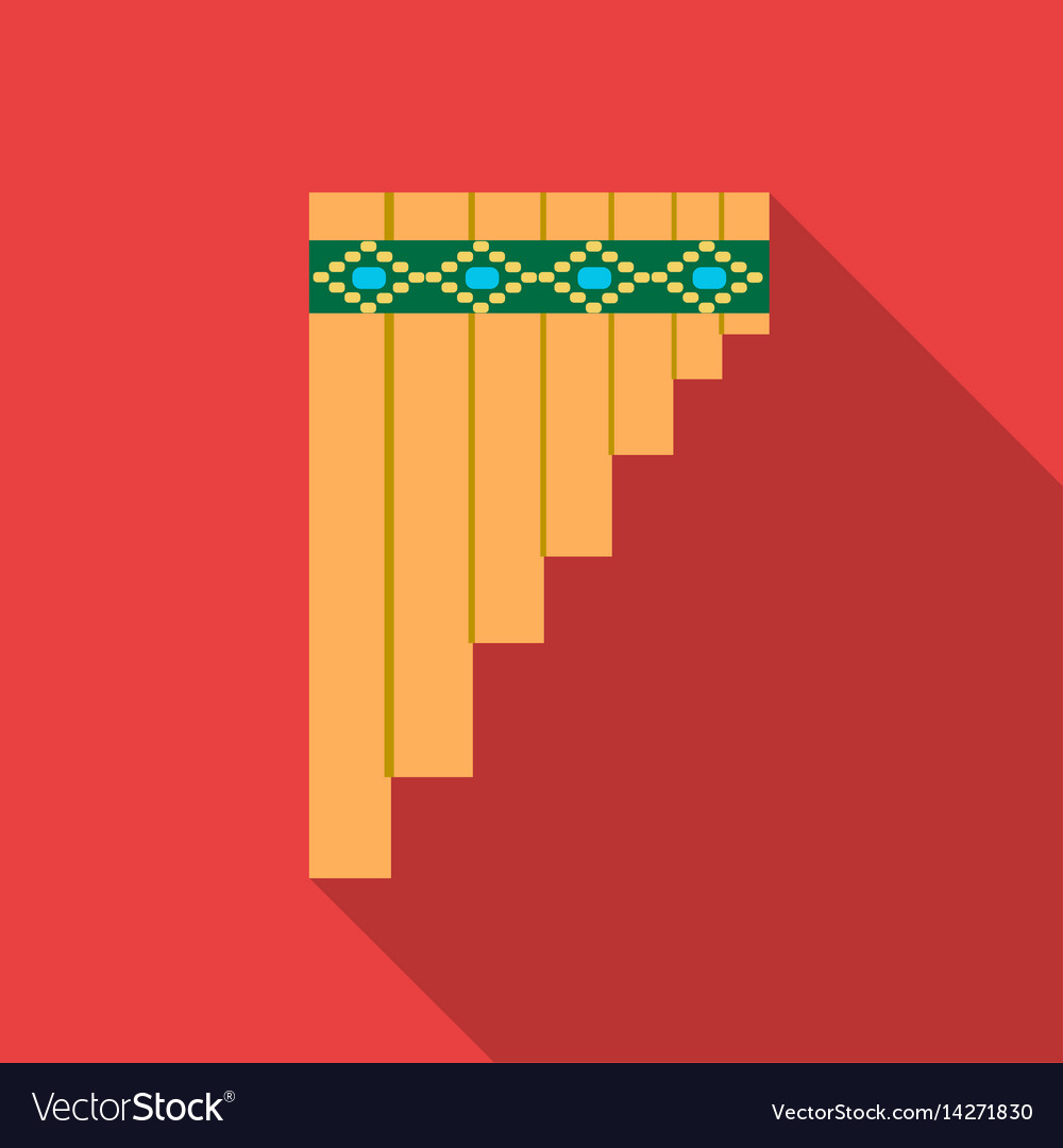 Mexican pan flute icon in flat style isolated on vector image