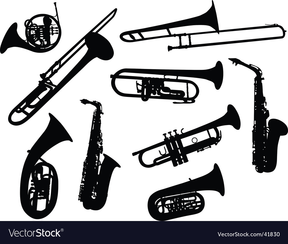 Silhouettes of wind instruments vector image
