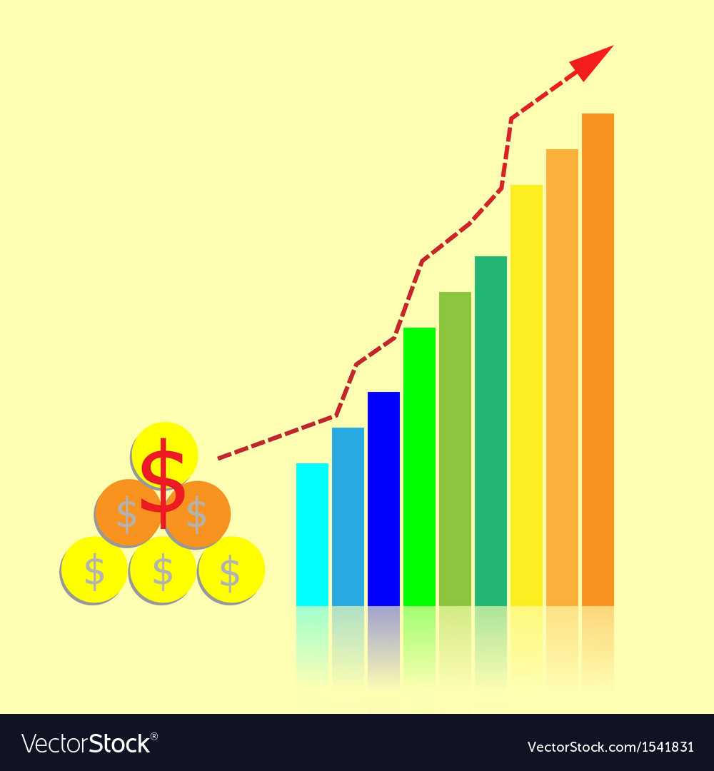 Investment bar graph with growth trend line vector image