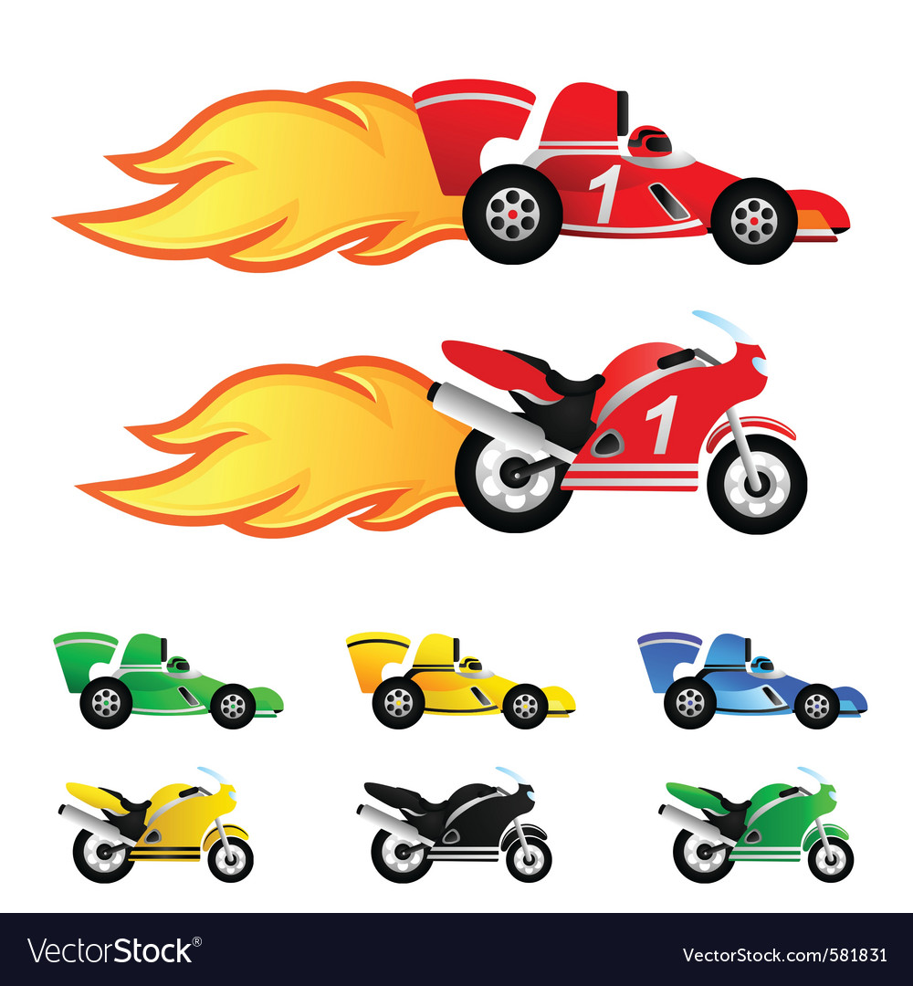 Race Car And Motorcycle Royalty Free Vector Image