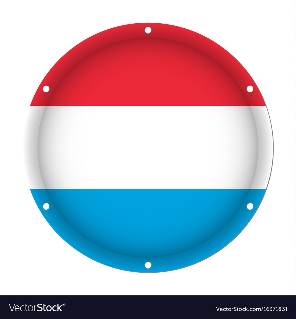 Round metallic flag of luxembourg with screw holes vector image