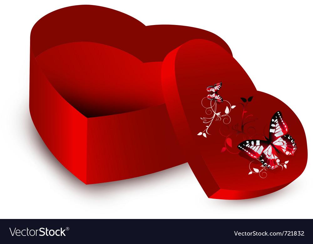 Heart shape present opened box vector image