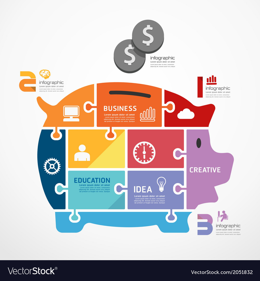 infographic template with piggy bank jigsaw banner