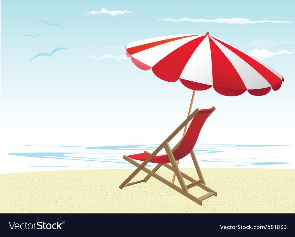 Beach chair with umbrella - Beach Chairs And Umbrella Vector Image