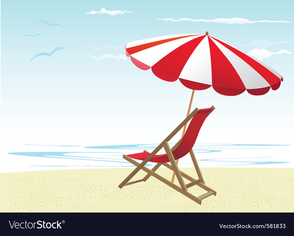 beach chairs and umbrella royalty free vector image