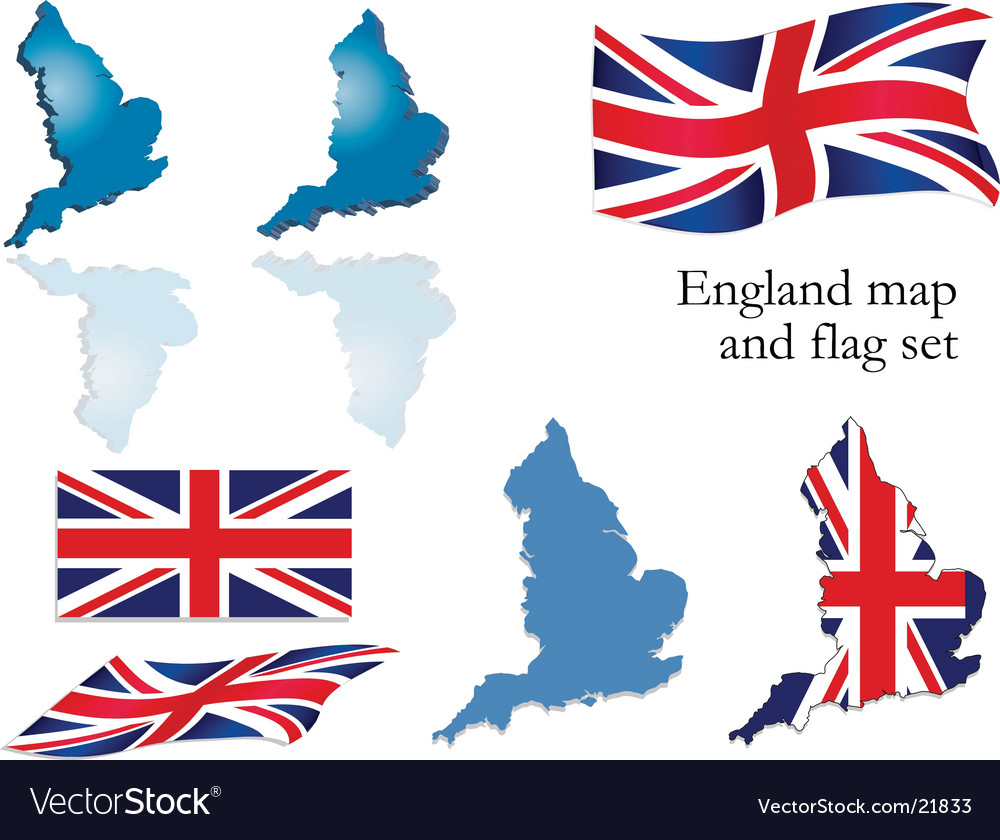 england map and flag set royalty free vector image