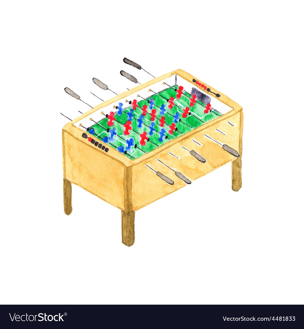 Old fashioned foosball or kicker table Watercolor vector image