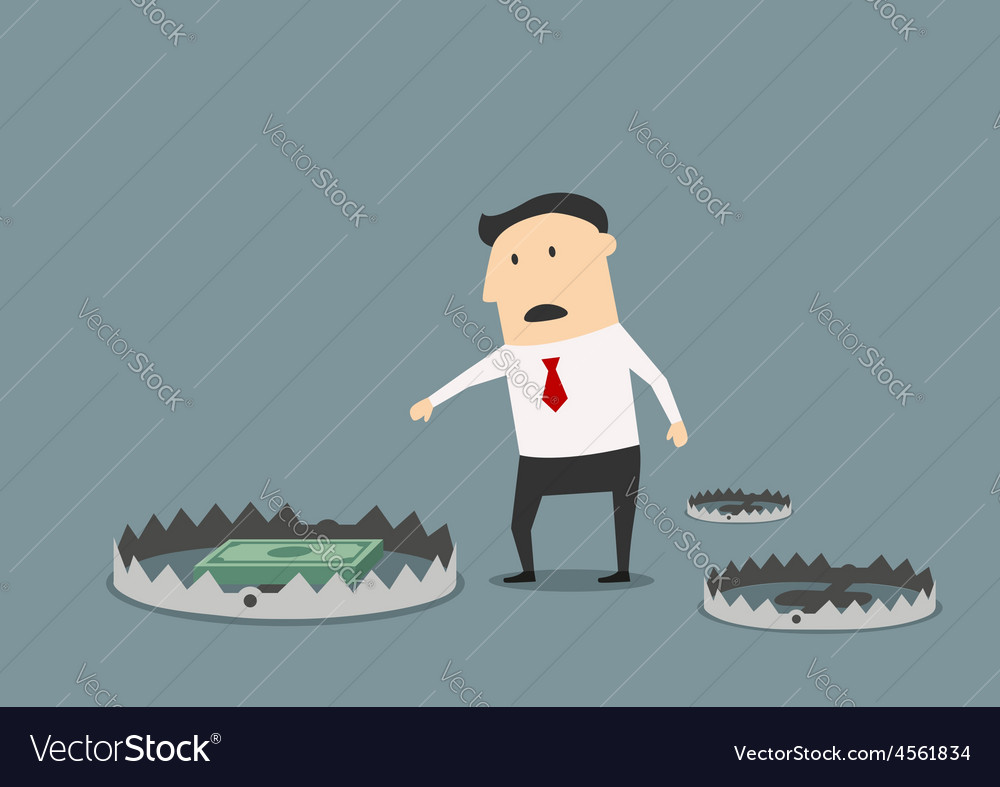 Businessman getting the money in open pole trap vector image