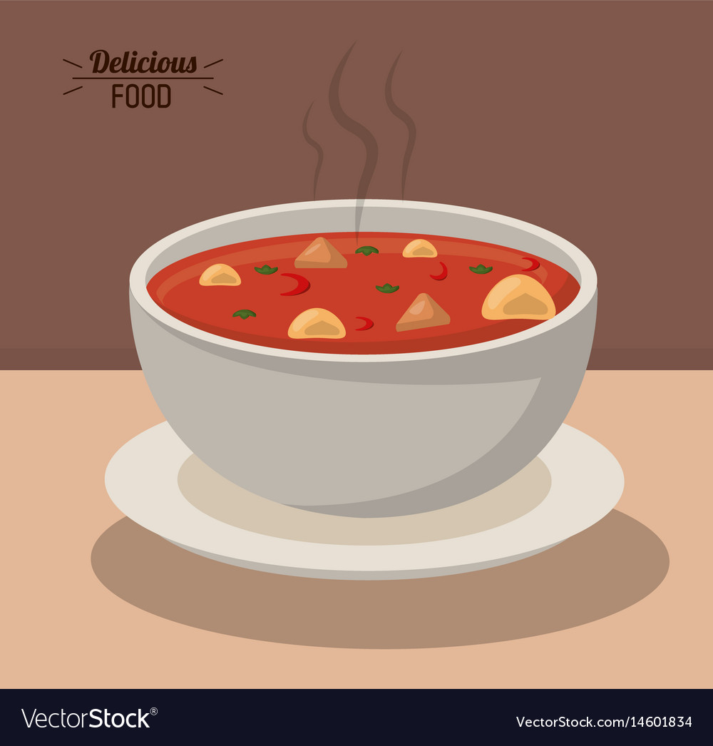 Delicious food bowl soup hot nutrition vegetable vector image