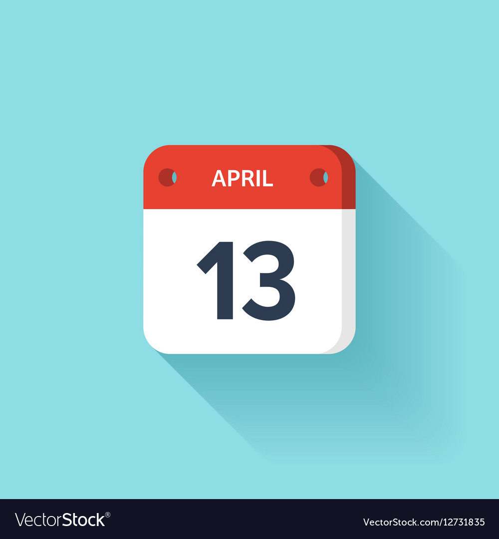 April 13 Isometric Calendar Icon With Shadow vector image