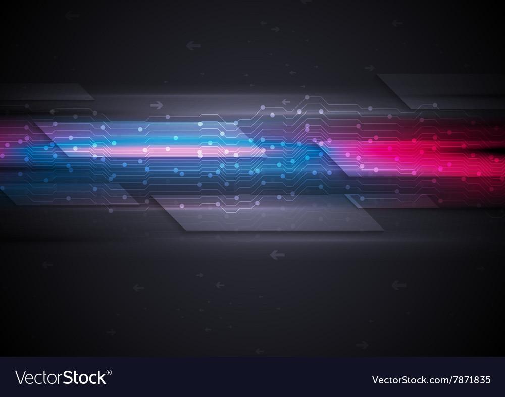 Dark glowing futuristic circuit board tech vector image