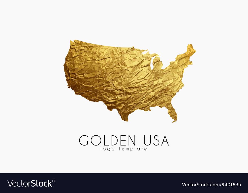 USA Map Golden USA Logo Creative USA Logo Design Vector Image - Usa map design