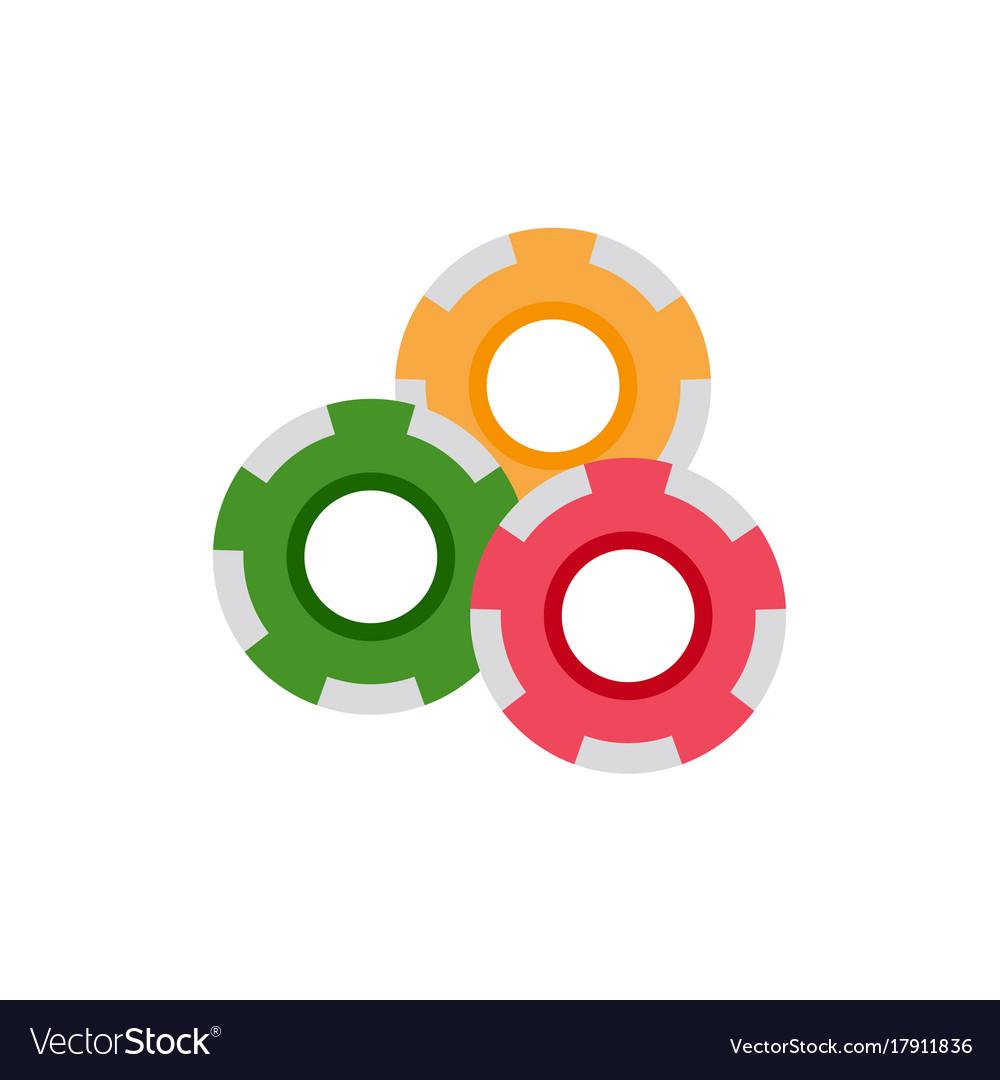 Flat cartoon red yellow green casino chips vector image