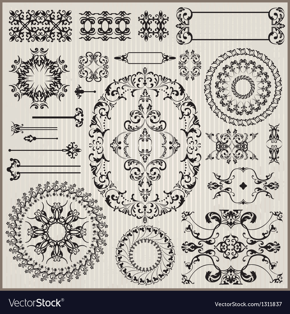 Ornamental pattern with border vector image