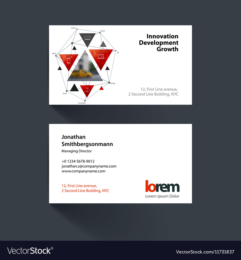business card template with triangular royalty free vector